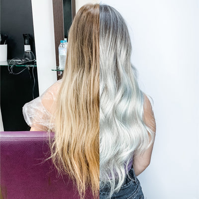 Before and after image. Ice white wavy hair