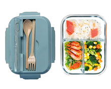 Load image into Gallery viewer, Glass Bento Lunch Box Blue with Food