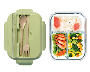 Glass Bento Lunch Box Green with Food