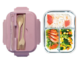 Glass Bento Lunch Box Pink with Food