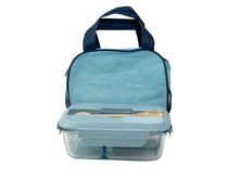 Load image into Gallery viewer, Glass Bento Lunch Box Blue with Insulated Bag