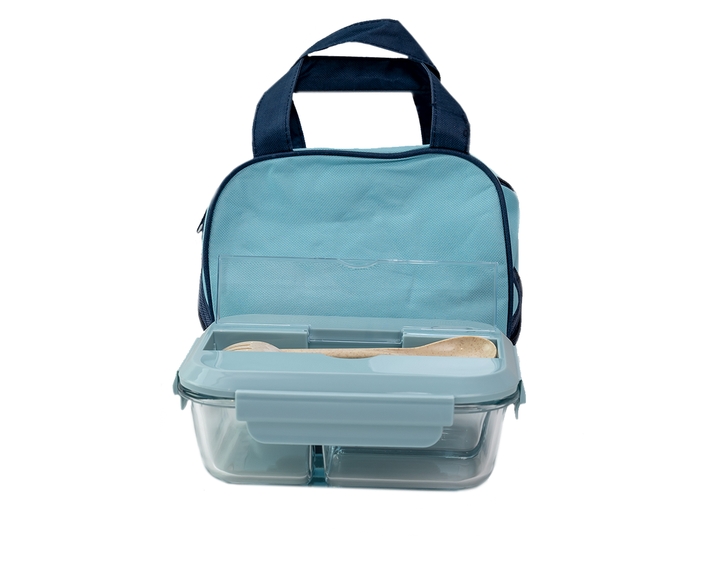 Glass Bento Lunch Box Blue with Insulated Bag