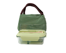 Load image into Gallery viewer, Glass Bento Lunch Box Green with Insulated Bag