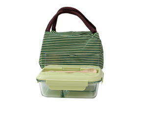 Glass Bento Lunch Box Green with Insulated Bag
