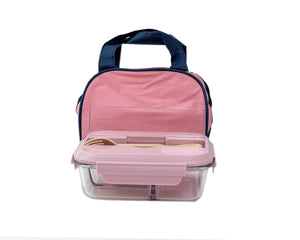 Glass Bento Lunch Box Pink with Insulated Bag