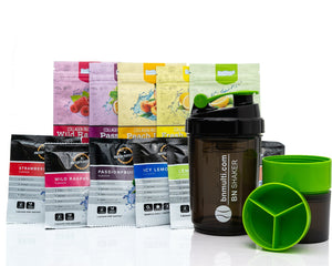 Protein Water Sample Pack Flavours & BN Shaker