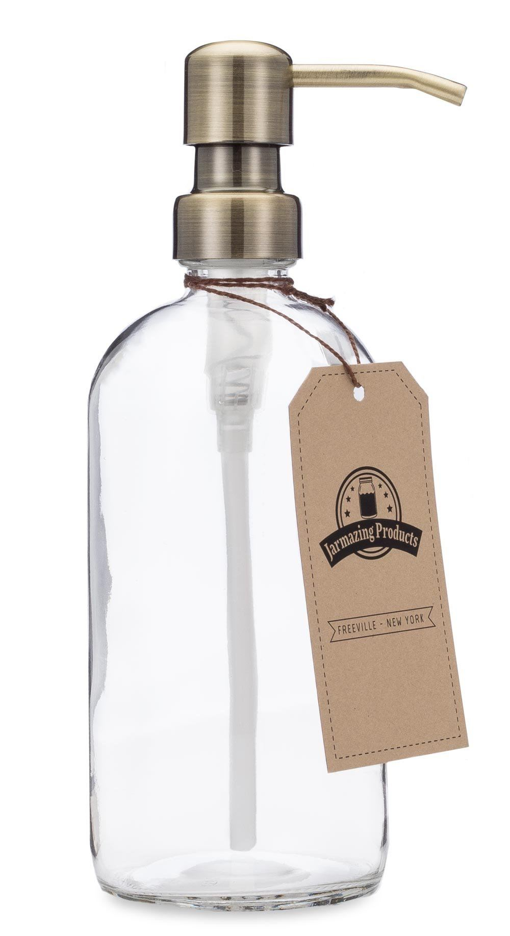 Vintage-Inspired 16oz Glass Soap/Lotion Dispenser Bottle