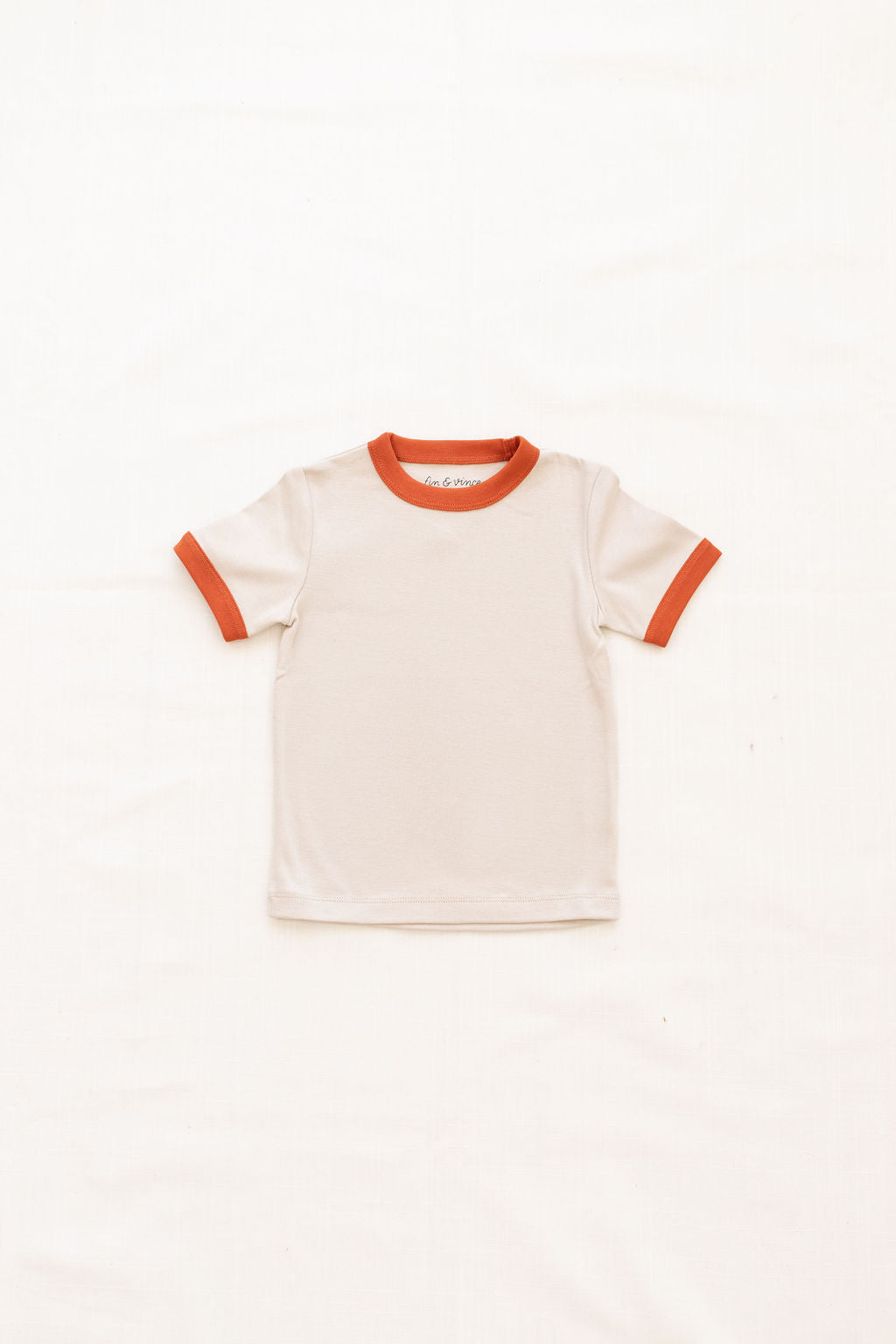 Vintage Tee - oatmeal w/ red rock trim