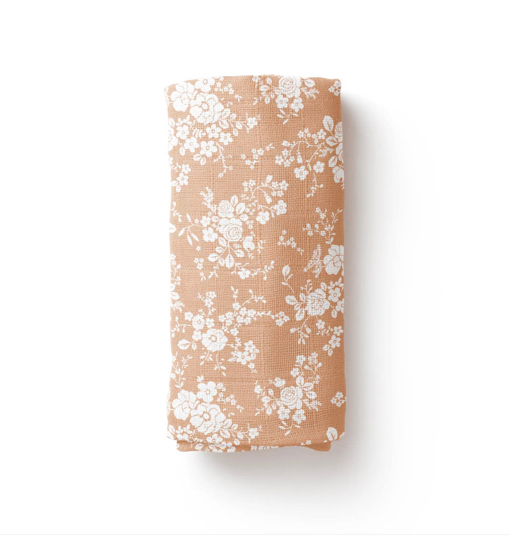 Vintage Bouquet Swaddle - Peach