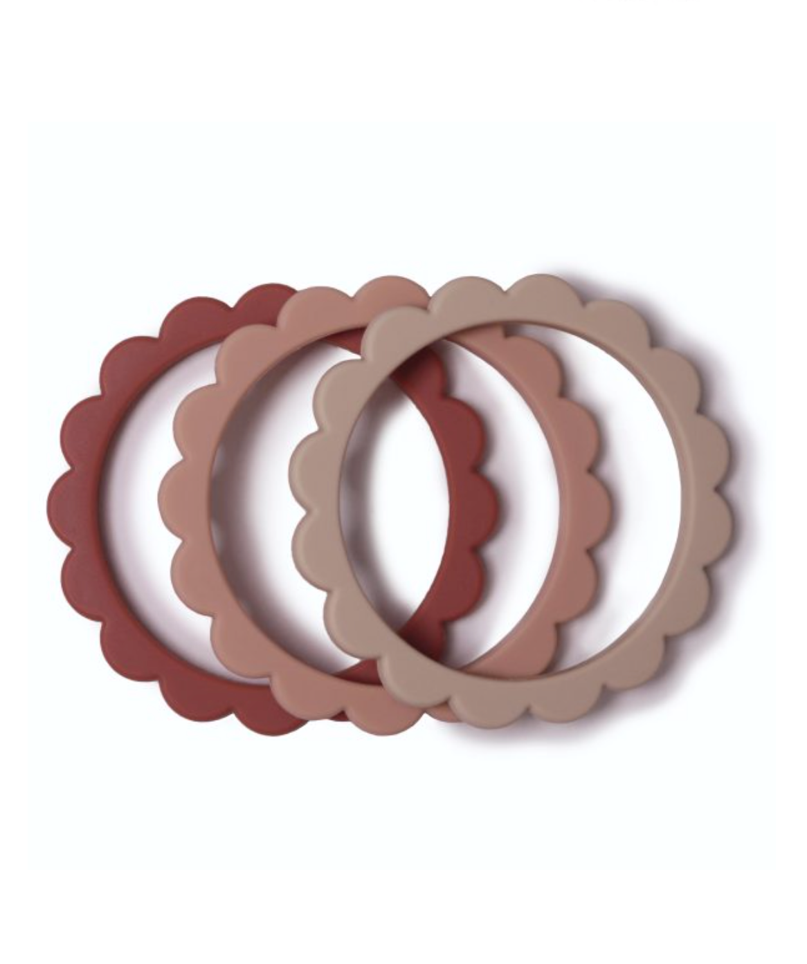 Flower Teething Bracelet 3-Pack (Rose/Blush/Shifting Sand)
