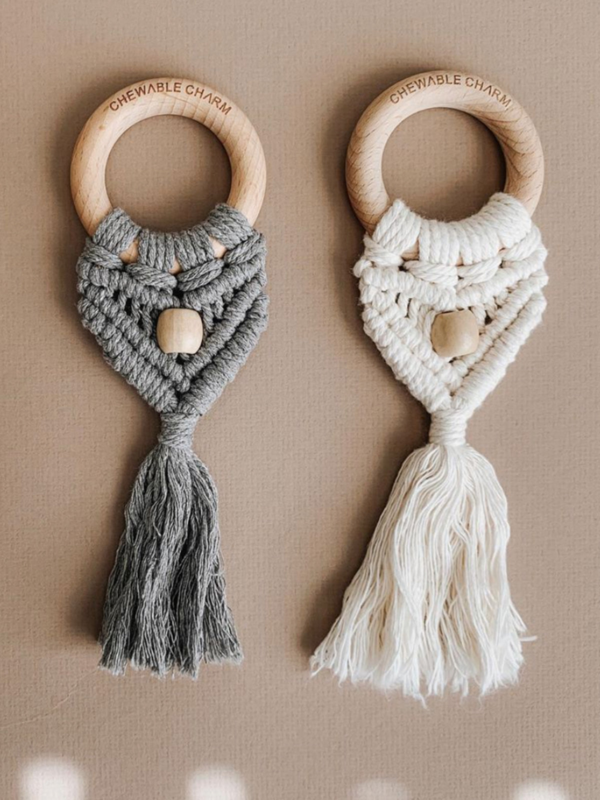 Celeste Macrame Teether + Bead Cream (4722055086173)