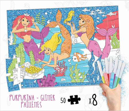 Puzzle de colorat +Glitter - Legenda Sirenelor - Kosmos Kids