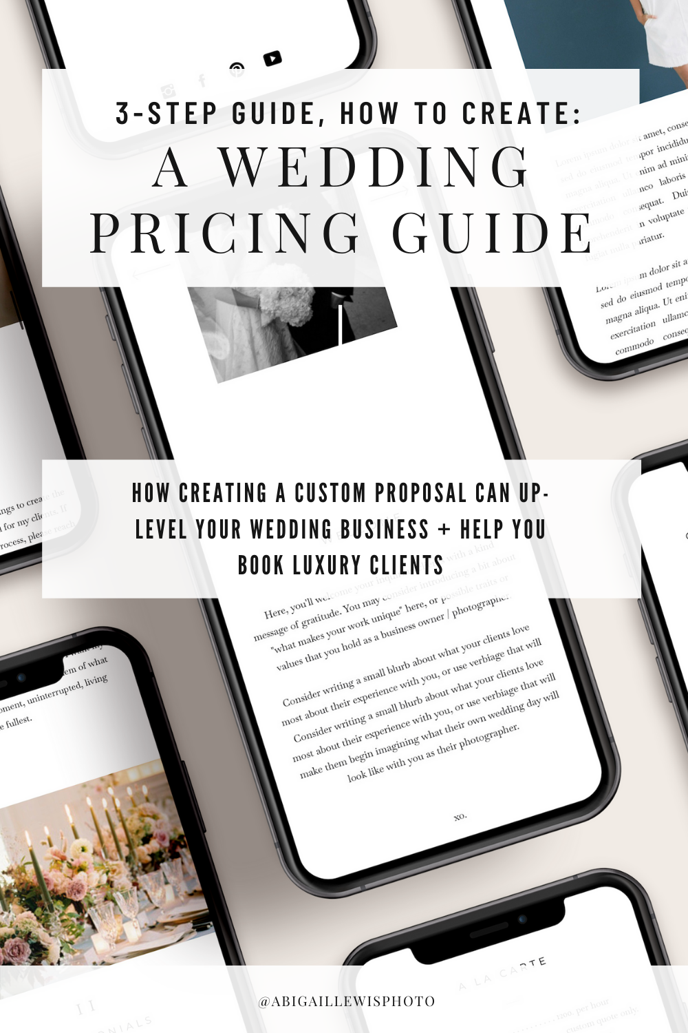 how to create a custom wedding pricing guide for wedding photographers