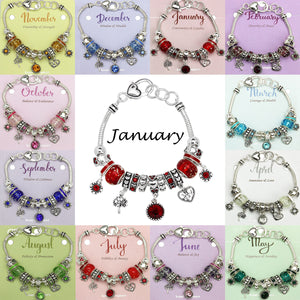 Birthstone Bracelet Multi-Color Charm Beads Silvertone