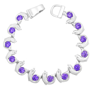 Purple Dolphin Magnetic Closured Bracelet