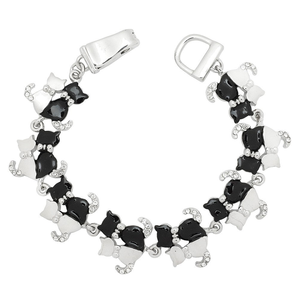 Black & White Cat Magnetic Closured Bracelet