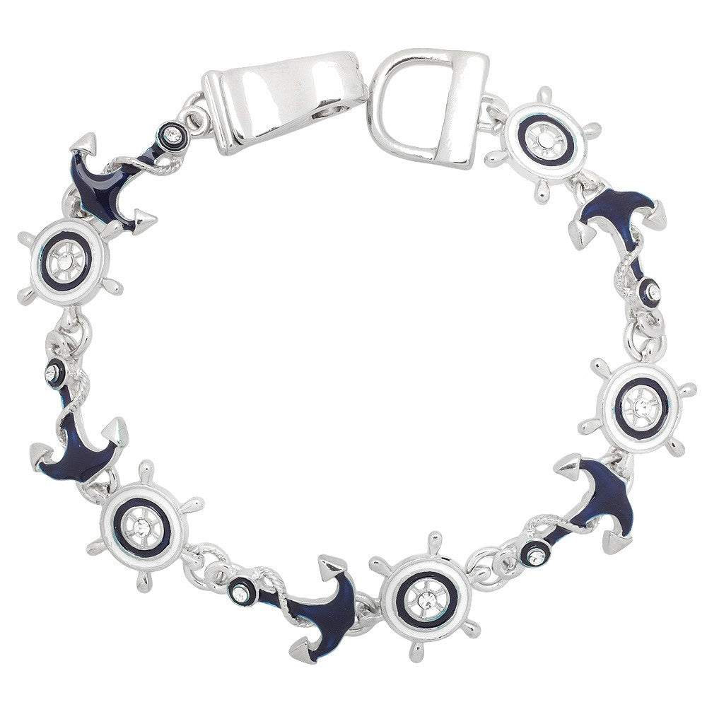 Anchor & Wheel Magnetic Closured Bracelet