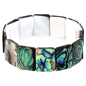Green Abalone Shell Stretch Bracelet Rectangle