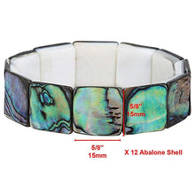 Load image into Gallery viewer, Green Abalone Shell Stretch Bracelet Square