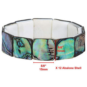 Green Abalone Shell Stretch Bracelet Square