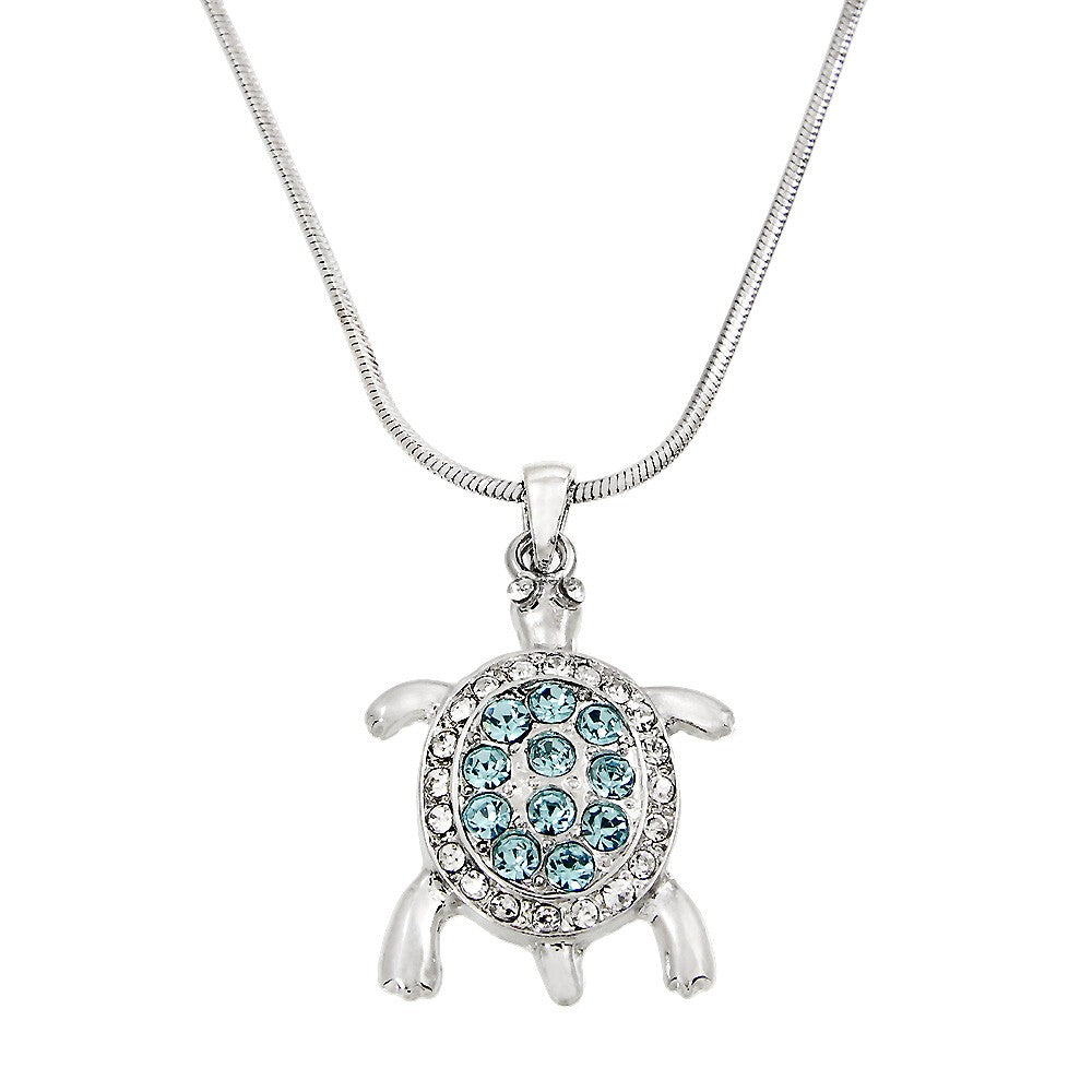Aqua Crystal Turtle Pendant Necklace