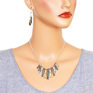 Tri-Tone Fashion Necklace Earring Set