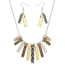 Load image into Gallery viewer, Tri-Tone Fashion Necklace Earring Set