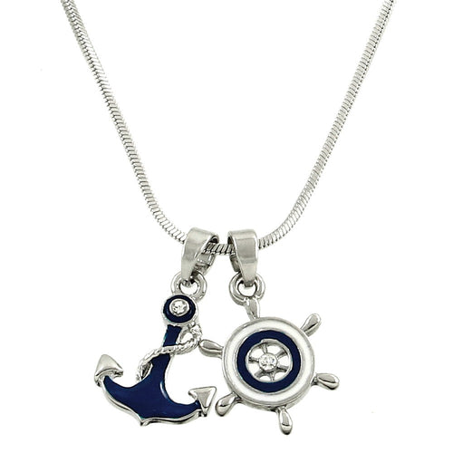 Anchor & Wheel Pendant Necklace