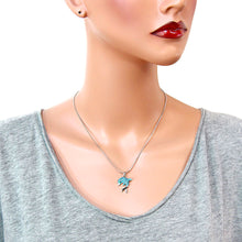 Load image into Gallery viewer, Aqua Color Dolphin Pendant Necklace
