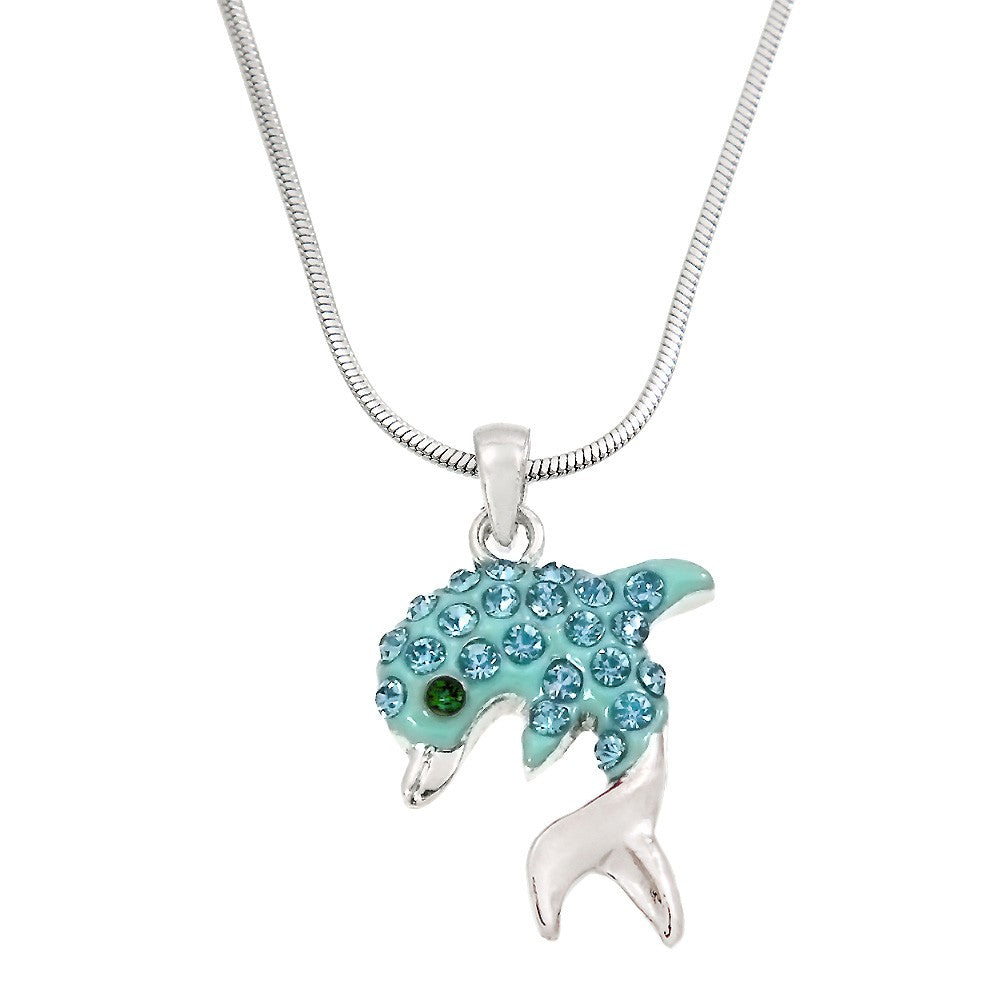 Aqua Color Dolphin Pendant Necklace