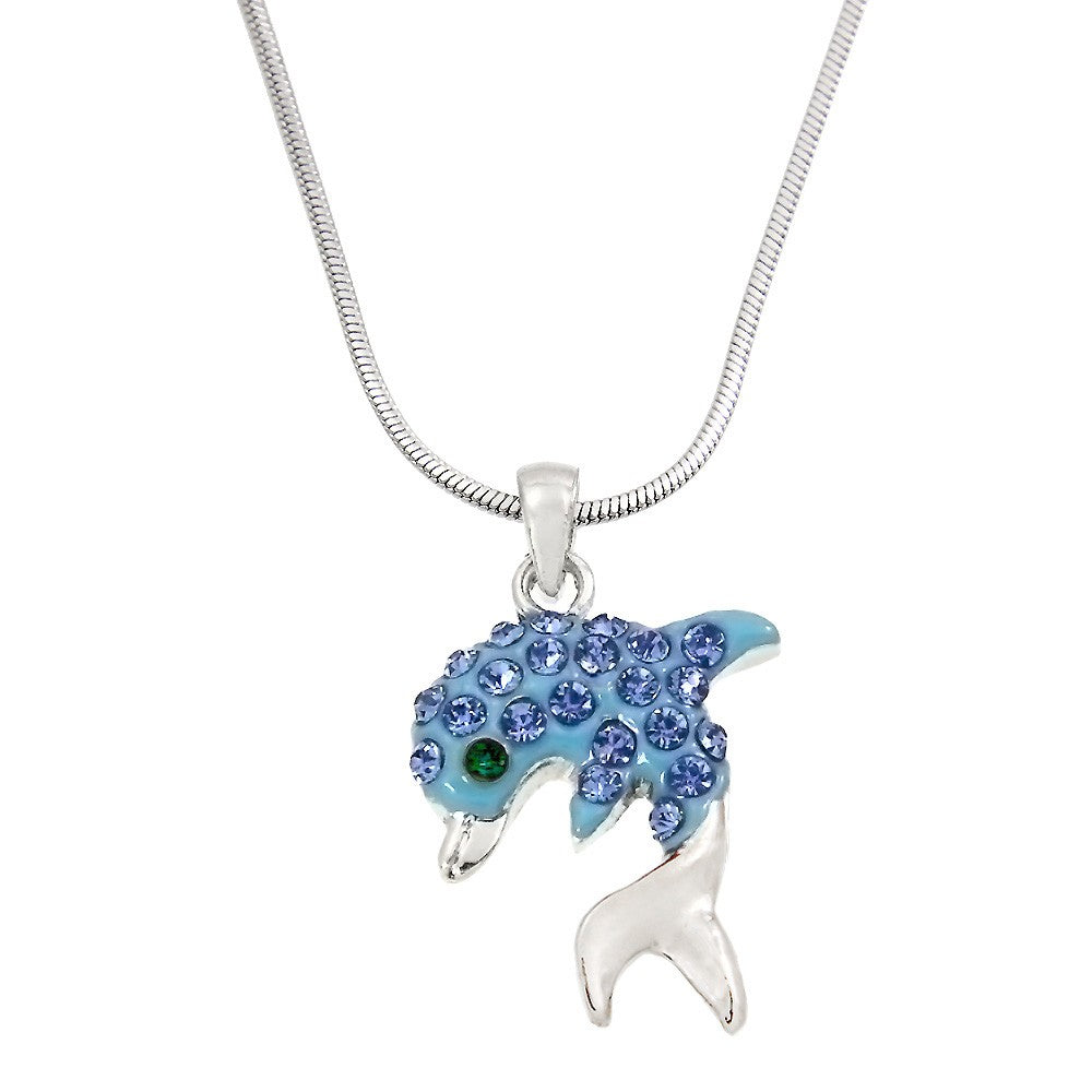 Blue Color Dolphin Pendant Necklace
