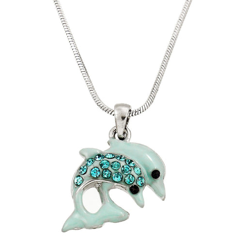 Double Dolphin Pendant Necklace