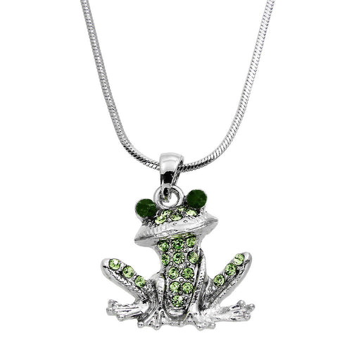 Green Frog Pendant Necklace