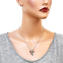 Load image into Gallery viewer, Green Red & White Ribbon Pendant Necklace