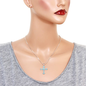 Blue Cross Pendant Necklace