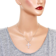 Load image into Gallery viewer, Pink Cross Pendant Necklace