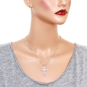 Pink Cross Pendant Necklace