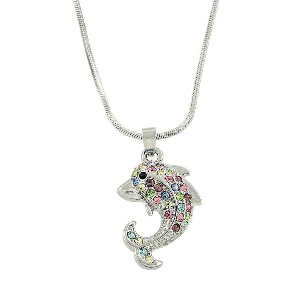 Multicolor Dolphin Pendant Necklace