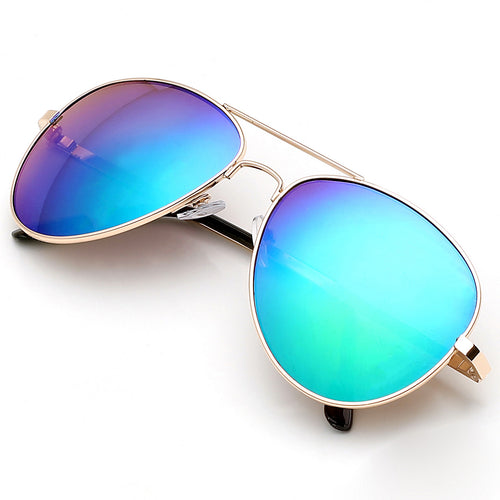 Aviator Sunglasses Classic - Non-Polarized - Gold Frame - Blue/Purple Mirror