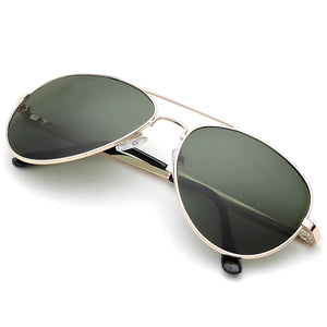 Aviator Sunglasses Classic - Polarized - Gold Frame - Dark Green