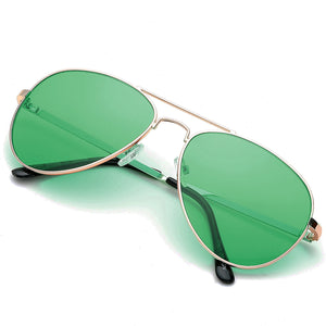 Aviator Sunglasses Classic - Non-Polarized - Gold Frame - Emerald