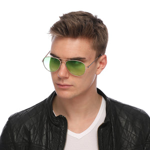 Aviator Sunglasses Classic - Non-Polarized - Gold Frame - Lime