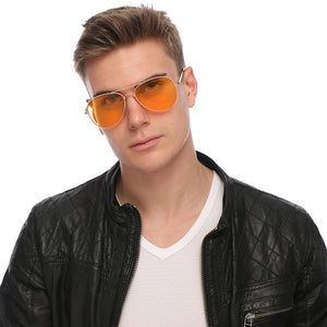 Aviator Sunglasses Classic - Non-Polarized - Gold Frame - Orange