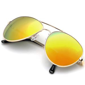 Aviator Sunglasses Classic - Non-Polarized - Gold Frame - Orange/Yellow Mirror