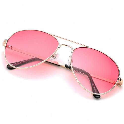 Aviator Sunglasses Classic - Non-Polarized - Gold Frame - Rose Pink