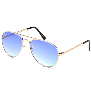 Aviator Sunglasses Classic - Non-Polarized - Gold Frame - Sky Blue