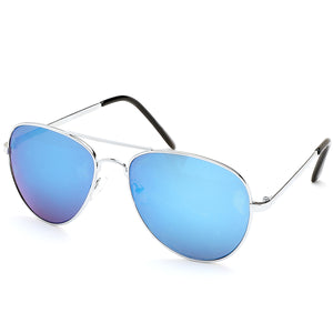 Aviator Sunglasses Classic - Non-Polarized - Silver Frame - Blue/Royal Mirror