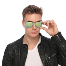 Load image into Gallery viewer, Aviator Sunglasses Classic - Non-Polarized - Silver Frame - Green/Lime Mirror
