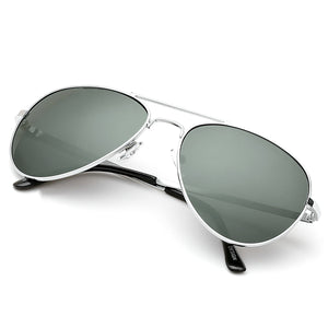 Aviator Sunglasses Classic - Non-Polarized - Silver Frame - Gray