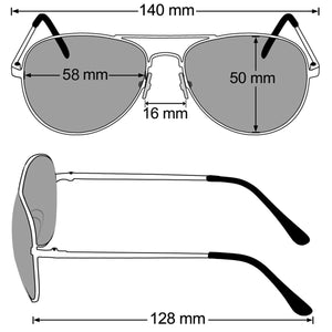 Aviator Sunglasses Classic - Non-Polarized - Silver Frame - Clear